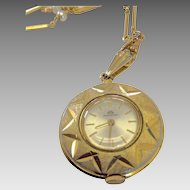"Vintage Bucherer Pendant Watch on 29"" Necklace"