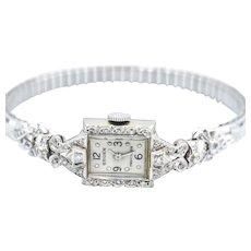 Vintage Gruen Ladies 14KW Gold Diamond  Watch
