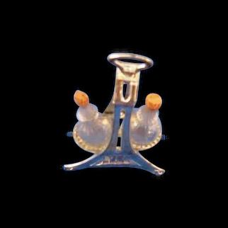 Miniature Metal and Glass Cruet Set