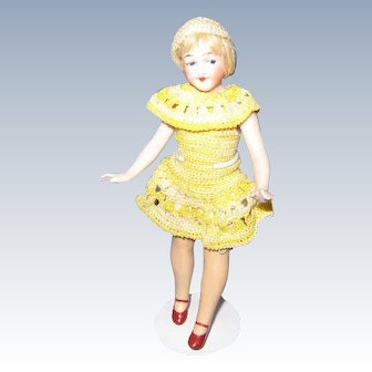 German All Bisque Flapper Doll c 1920's