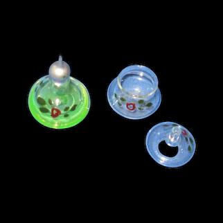 German Blown Glass Miniature Perfume and Powder Jar