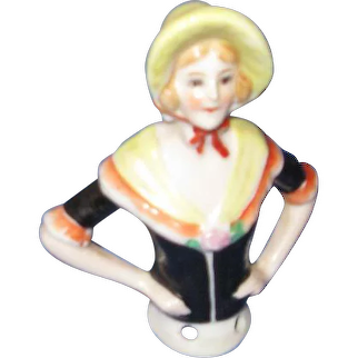 German Pincushion Doll with bonnet and shawl c 1920