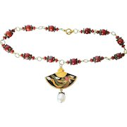 Red dragon cloisonne necklace