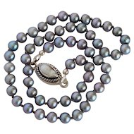 Peacock silver blue fresh water cultured pearl necklace