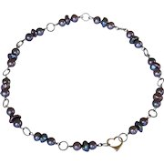 Pearls and titanium contemporary necklace