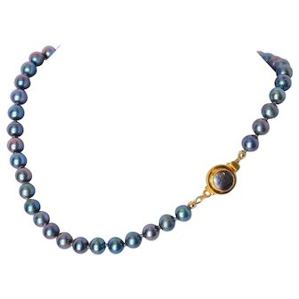 Bridal/ wedding party jewelry peacock blue cultured fresh water pearl necklace