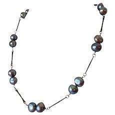 Black fresh water pearl necklace and earring set