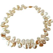 Ivory white cultured petal pearl neklace