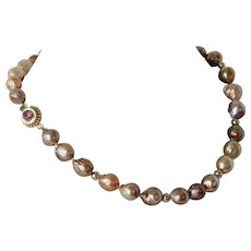 Pink Tourmaline and fresh water pearl necklace