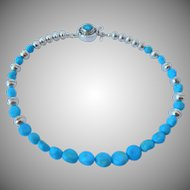 Kingman Turquoise and sterling silver necklace