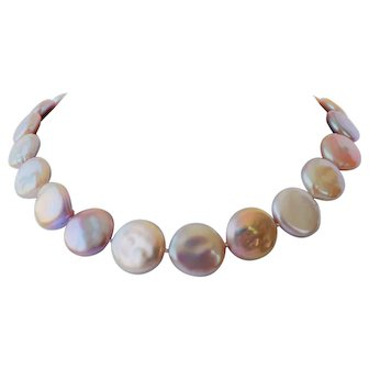 Fresh water coin pearls with 14 K gold clasp