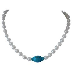 Akoya pearls and Sleeping Beauty turquoise necklace