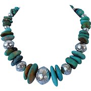 # 8 American Turquoise and sterling silver necklace