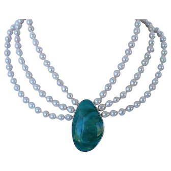 Akoya pearls and Broken Arrow turquoise necklace
