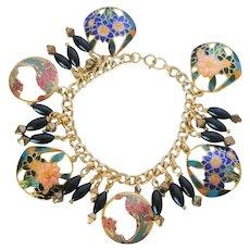"""Cloisonne """"lace cut"""" charm bracelet"""