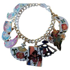 Cloisonne fans and moons charm bracelet