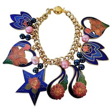 Hearts and flowers cloisonne charm bracelet