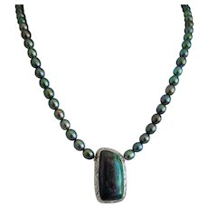 Azurite- Malachite and cultured pearl  necklace