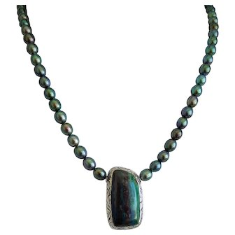 Azurite- Malachite and cultured pearl  necklace