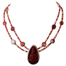Spiny Oyster and Red Jasper Buddha necklace