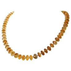 Golden Citrine bead and Karat gold necklace