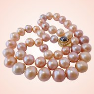 Pink and lavender cultured pearl necklace