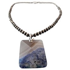 "Druzy geode agate pendant on a sterling silver ""Desert Pearl"" necklace"