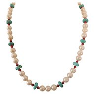 Freshwater pearl and American Turquoise necklace