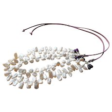 Cultured Freshwater pearls on leather necklace