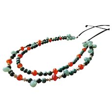 Jade and Carnelian bead necklace