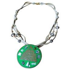 Vintage Alpaca Mexican Pyramid Pendant necklace