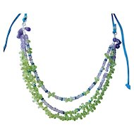 Peridot and Amethyst multi gem necklace