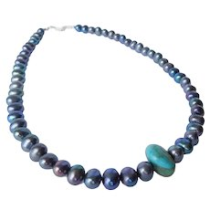 Cultured freshwater pearls and American Turquoise necklace