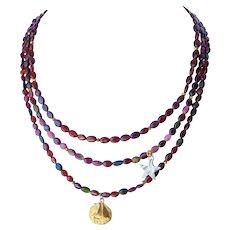 Garnet and Tourmaline gemstone necklace