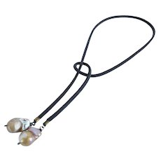 Southwest style latigo cord necklace with Indonesian cultured pearls