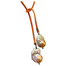 Cultured Baroque pearl and suede necklace