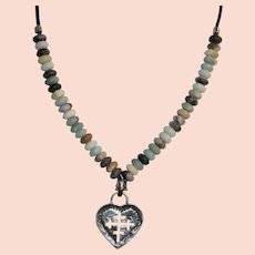 Amazonite bead necklace with sterling silver heart pendant