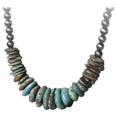 American Turquoise disk bead necklace with genuine Navajo pearls