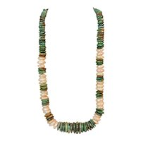 Southwest style American Turquoise and Cultured freshwater pearl necklace