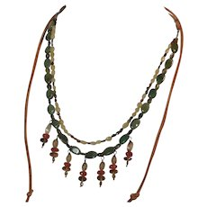 Multi gemstone necklace with suede in American Southwest style