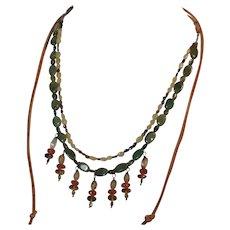 Southwest style cacti gemstone necklace