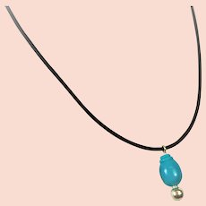 Sleeping Beauty American Turquoise drop bead pendant on leather cord necklace