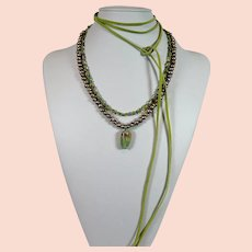 Ruby in Zoisite gem stone pendant with a fresh water keshi pearl necklace