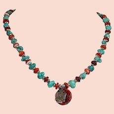 Spiny Oyster and American Turquoise necklace with sterling silver Thunderbird charm