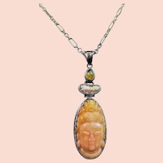 Peruvian opal Buddha pendant with 24 inch sterling silver chain