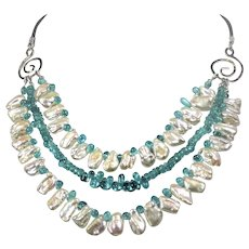 Cultured Freshwater Keishi pearl necklace with Apatite gemstones
