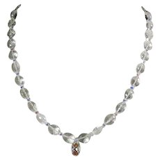 Rock crystal necklace with an adjustable length sterling silver chain