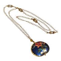 Blue and gold cloisonne pendant