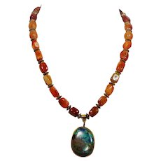 Carnelian gem stone necklace with Azurite pendant