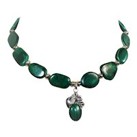 Malachite bead necklace with a Southwest style pendant